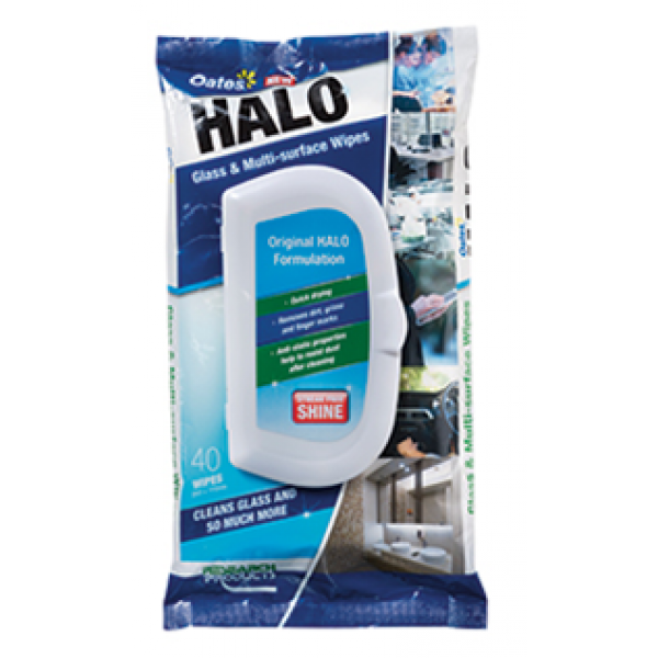 Halo Wipes Pkt 40 Glass And Surface Wipe
