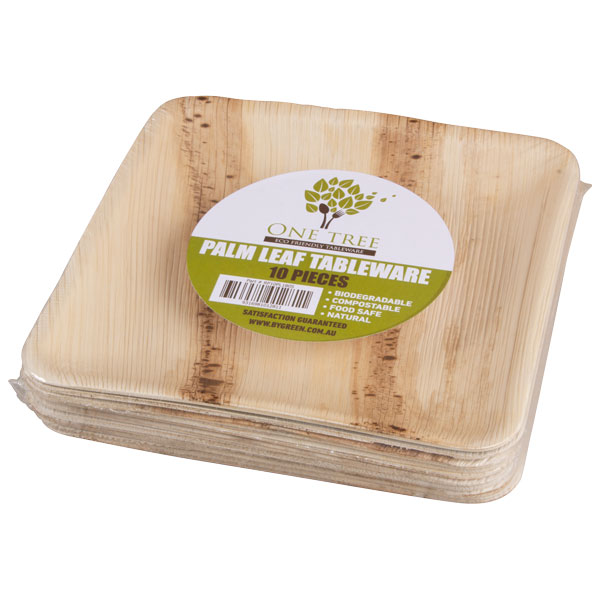 Plate Palm Leaf Retail Pack-Square 180mm