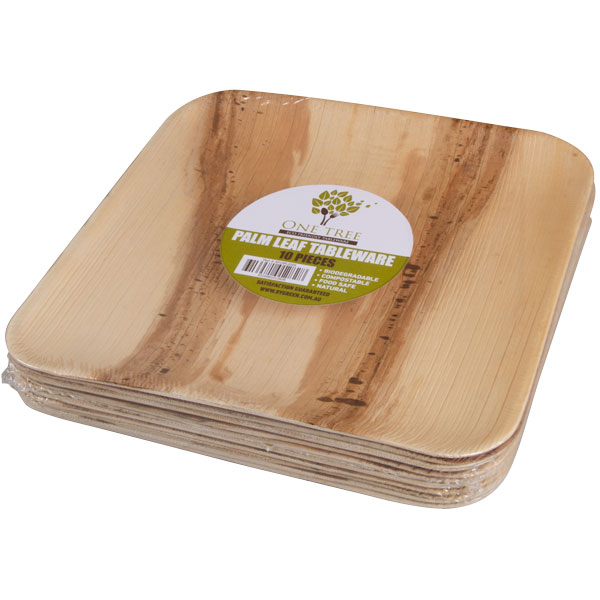 Plate Palm Leaf Retail Pack-Square 250mm