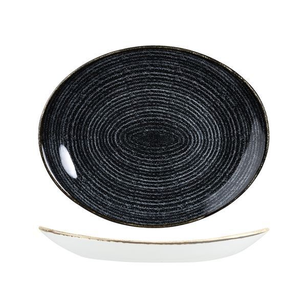 Plate Churchill Oval Charcoal Black 317m